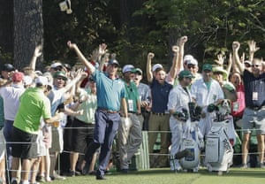 Matt Kuchar reacts after his hole in one on the 16th.