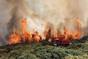 A fire engine on the French Indian Ocean island of La Reunion where an ongoing fire has ravaged more than 200 hectares of vegetation in the Maido massif