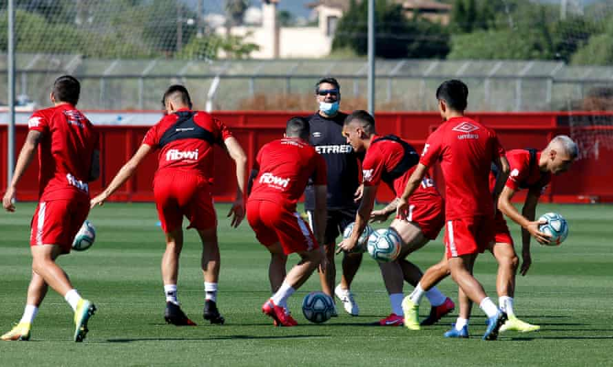 Mallorca players work during a training session ahead of their return to La Liga action