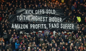 Crystal Palace supporters at Selhurst Park make their feelings clear as their game was officially the first to be broadcast live by Amazon Prime.