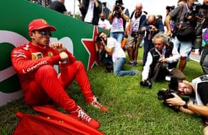Charles Leclerc of Ferrari prepares for the race.