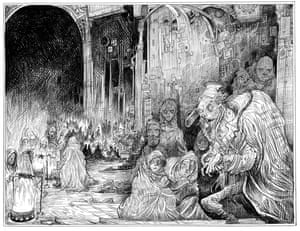 Rat people in the Vaulted Chamber from Chris Riddell's illustrated edition of Neil Gaiman's Neverwhere