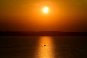 Lake Balaton, Bulgaria A boat at sunset on in Balatonvilágos 92 kms southwest from Budapest