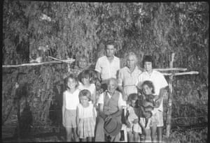 """'This is nana and pop with all the Walley and Phillips kids, all cousins mixed together. This photo reminds me of how close we all were, just beautiful memories of when we lived on the farm, before we moved to the native reserve."""" – Dallas Phillips"""