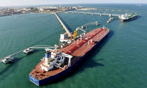 A general view of a crude oil importing port.