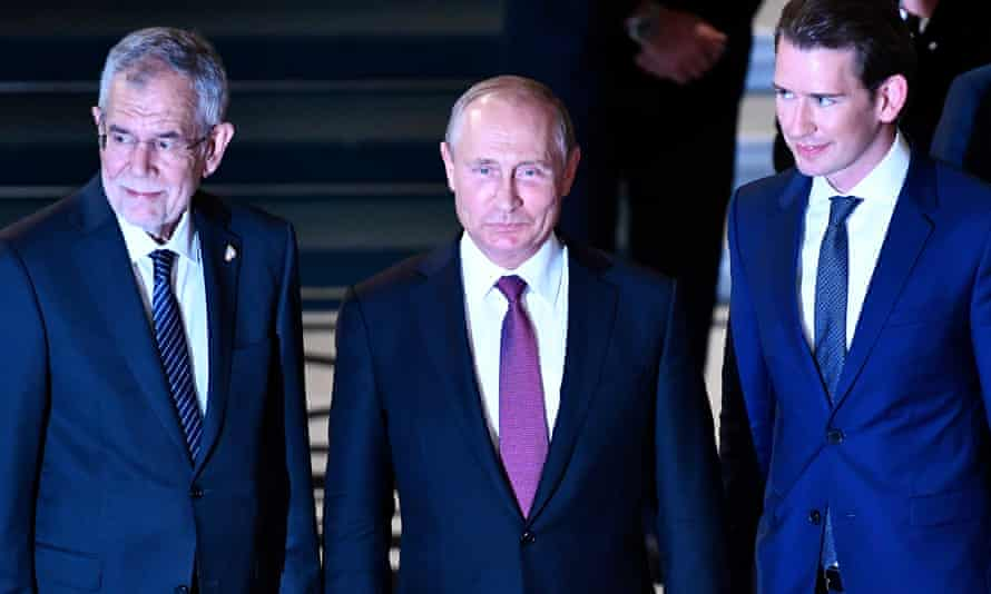 Russian president Vladimir Putin in Vienna with Austrian president Alexander Van der Bellen (left) and Austrian chancellor Sebastian Kurz.