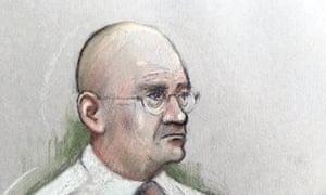 Court artist sketch of Bob Higgins