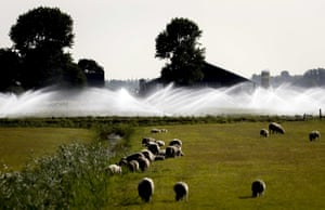 Sprinklers spray land with water in the area around Castricum, the Netherlands.