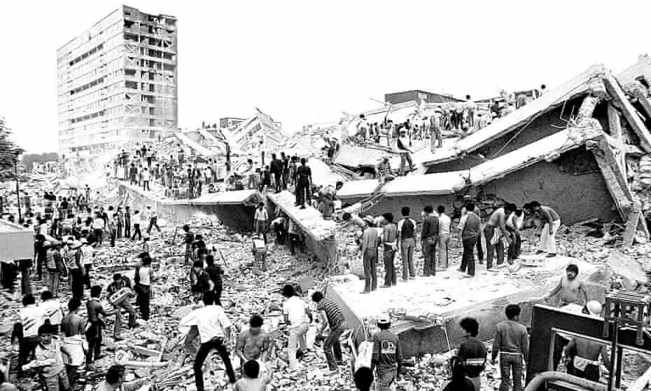 A residential block collapses during the Mexico City earthquake in September 1985.