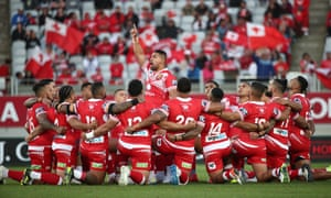 Tonga was supported by a sea of red in their win over Australia at Eden Park.