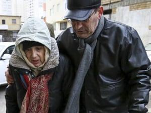 Leyla Yunus and Arif Yunus after her release from jail. Azerbaijan