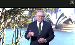 The Australian prime minister, Scott Morrison, makes his pre-recorded speech to the UN with the Sydney Opera House as a backdrop.