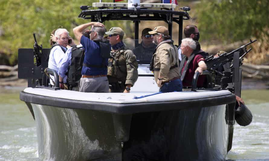 Ted Cruz with Texas state troopers on the Rio Grande near Anzalduas Park in March. Sometimes it's best to view these border tours with a sense of levity.