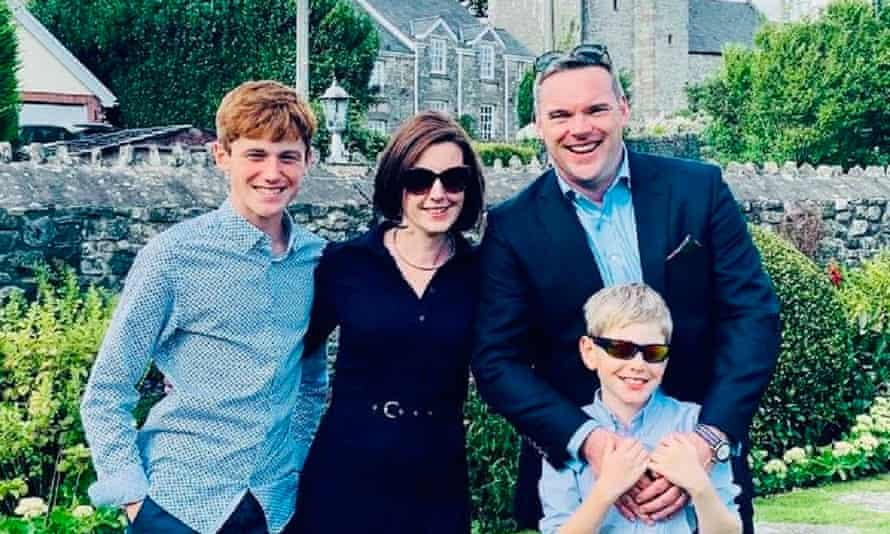 Mathew O'Toole with his wife Georgina and their two children