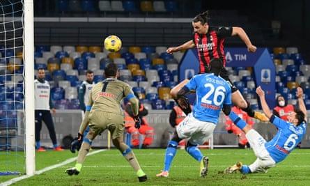 Zlatan Ibrahimovic scores against Napoli