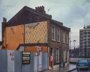 Belhaven Street, 1977. A resident hangs on despite encroaching demolition of Victorian housing stock