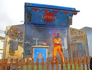Unique category, Jon Spooner (St Albans) with Space ShedStarting off as a way to tell stories about space, the shed became Spooner's own space agency. The writer and theatre maker used the bright blue shed as his place to write stories. Inspired by the astronaut Tim Peake, he built a fully mobile 'replica' of the Space Shed using hydraulics that open up to reveal a mini stage with a fully programmable LED lighting rig, big screen and sound system