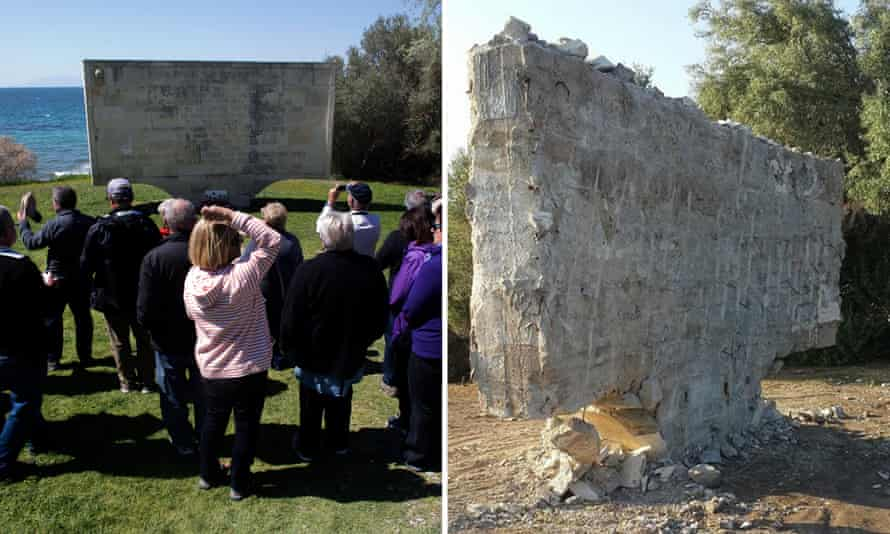 Left: tourists visit the memorial with the inscription of what are claimed to be Mustafa Kemal Atatürk's words to the mothers in Anzac Cove in April 2015; right: the memorial in June 2017