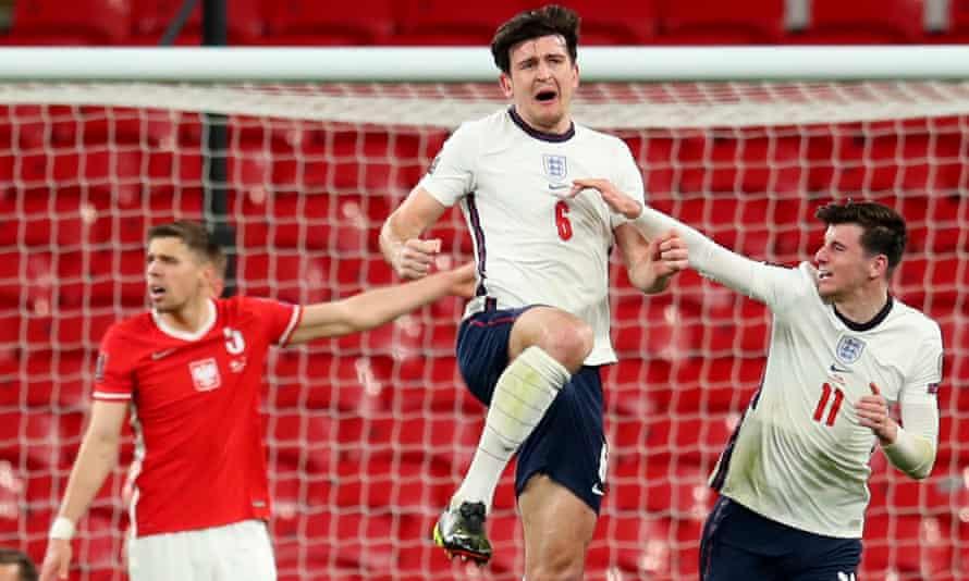 Harry Maguire celebrates scoring England's winner against Poland