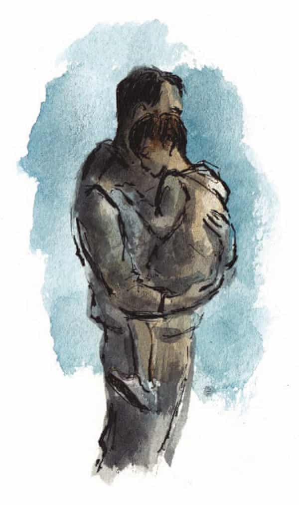 Illustration of a man holding a young child in his arms