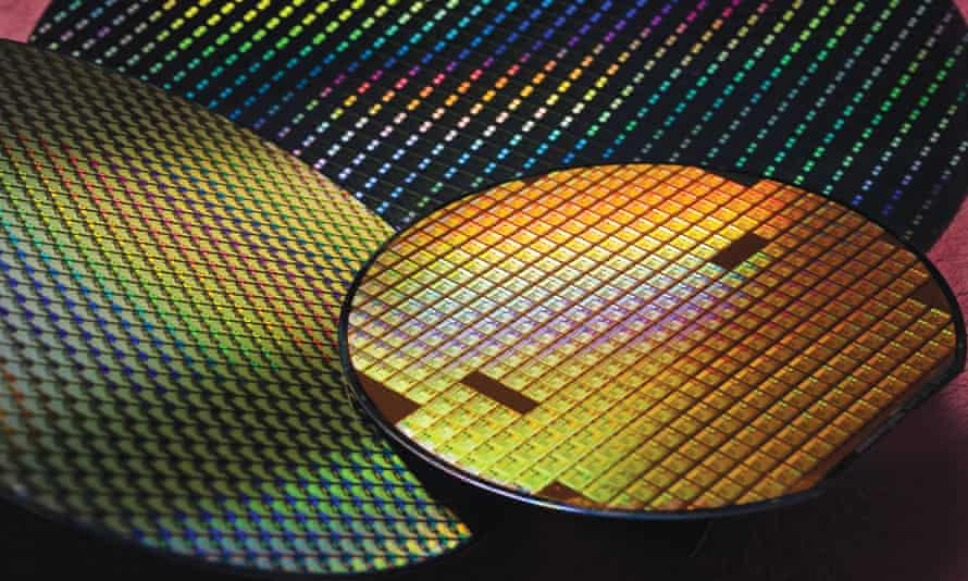A chip wafer at a TSMC fabrication plant.