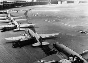 US C-47 transport aircraft at Berlin's Tempelhof Airport during the airlift.