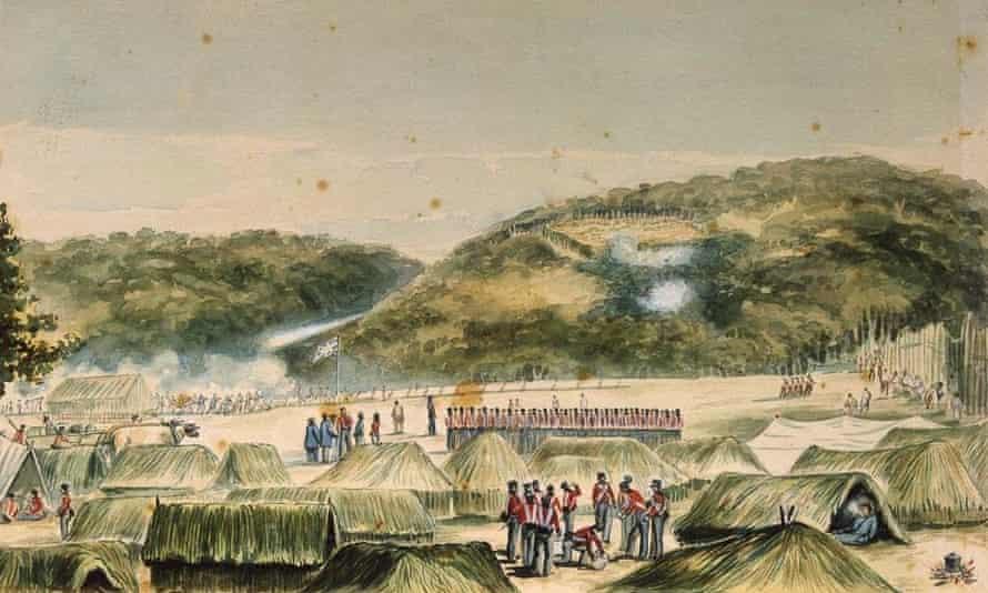 A painting by artist John Williams of British troops at Ruapekapeka pā