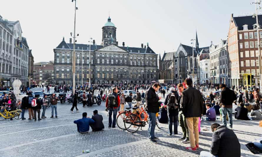 Crowds gather in Dam Square, Amsterdam