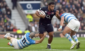 Billy Vunipola, one of the stars of England's run, on the charge against Argentina.