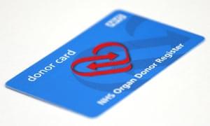 An NHS organ donor register card