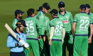 Ireland celebrate the wicket of Jonny Bairstow of England after a review.