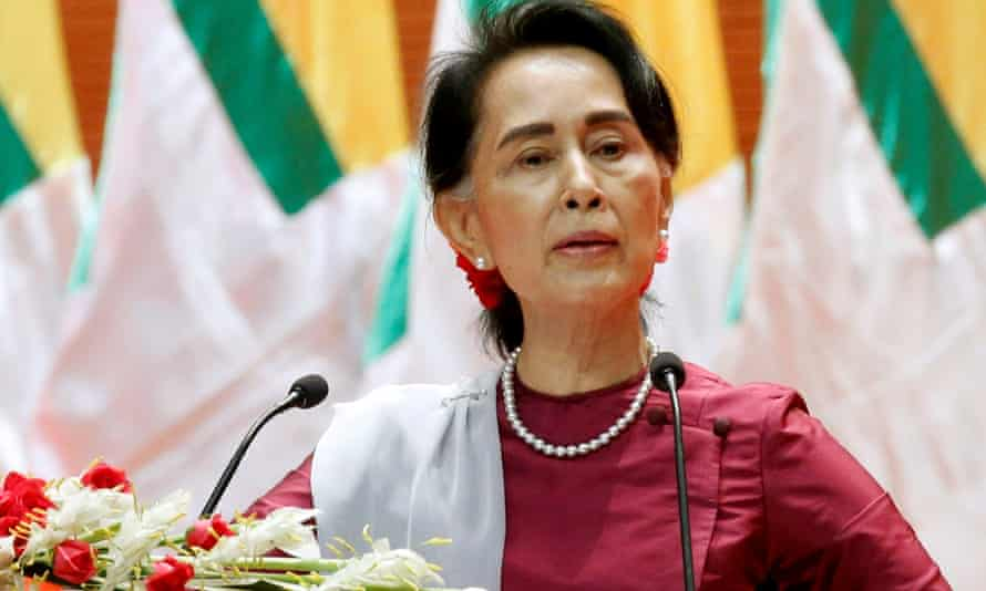 Aung San Suu Kyi delivers a speech to the nation over the Rakhine and Rohingya situation in Naypyitaw in September