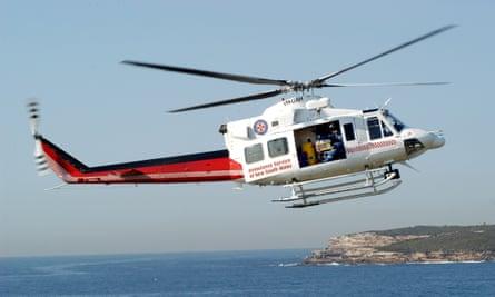 A Sydney Air Ambulance emergency medical helicopter above Sydney.