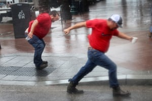 Louisiana, USUtility workers struggle against gusts from Hurricane Ida as they wait for the storm to pass so they can begin repairs.