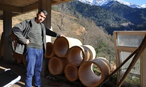 Hasan Kutluata makes traditional hives of lindenwood in his workshop above the village of Yaylacılar