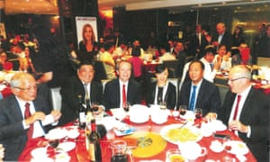 The head table at a Labor fundraiser in March 2015, showing Huang Xiangmo with party leaders