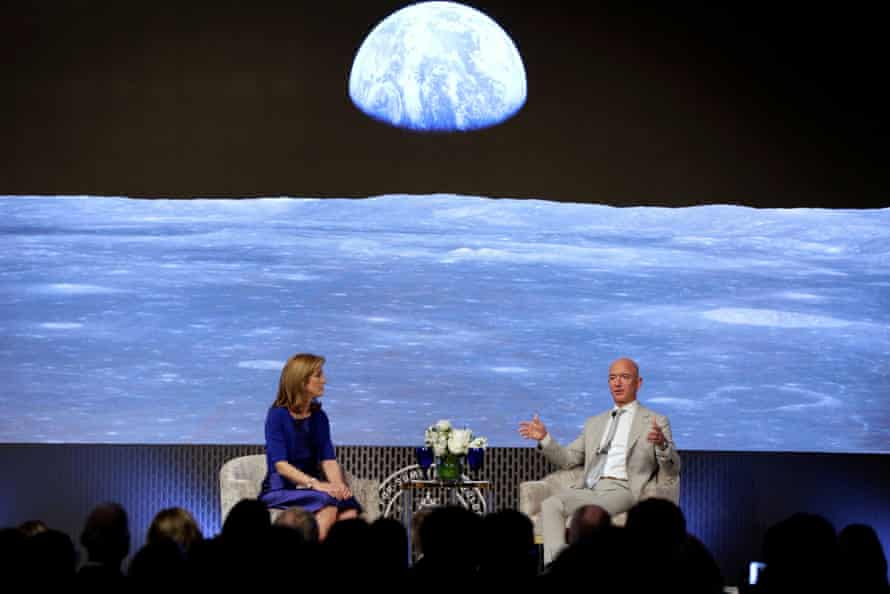 Caroline Kennedy and Jeff Bezos have a fireside chat during the JFK Space Summit in Boston in 2019.