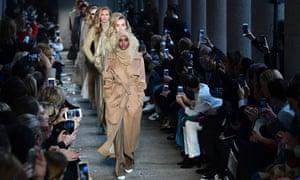 Somali-American model Halima Aden wears a hijab on the catwalk during Milan fashion week