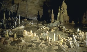 The ringed walls are made from nearly 400 stalagmites that have been pulled from the ground and stacked on top of one another.