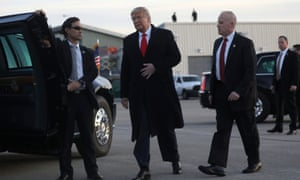 Trump arrives at Wilkes-Barre Scranton International Airport.