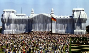The Wrapped Reichstag in 1995, by Christo and Jeanne-Claude.