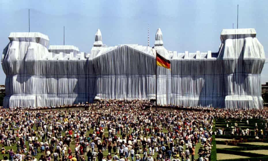 'We practised on a castle in Hannover' … Christo and Jeanne-Claude's Wrapped Reichstag in 1995.
