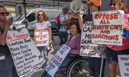 Protest outside Kentish Town jobcentre, London, in 2017, against benefits cuts and how they have led to the deaths of people with disabilities.