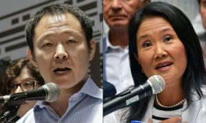 Peruvian congressman Kenji Fujimori and the leader of Peru's Fuerza Popular party Keiko Fujimori.
