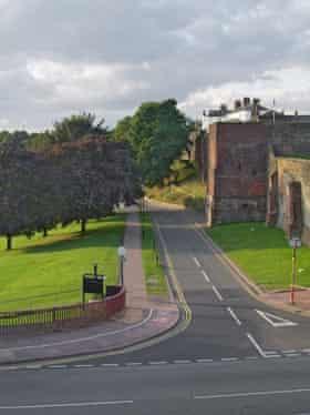 Road leading alongside Carlisle castle, cumbria.