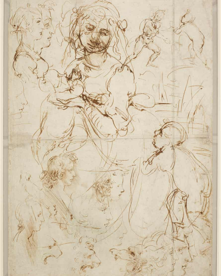 Leonardo da Vinci's Sketches of Heads and Figures.