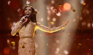 Conchita Wurst of Austria after winning Eurovision in 2014
