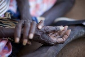 Hands of Indigenous woman.