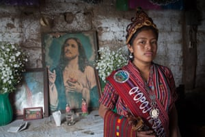Lily Ixkotz'ij Saloj, 2017-2018 indigenous queen of Chaquijya village and Sololá municipality in her parents' house.