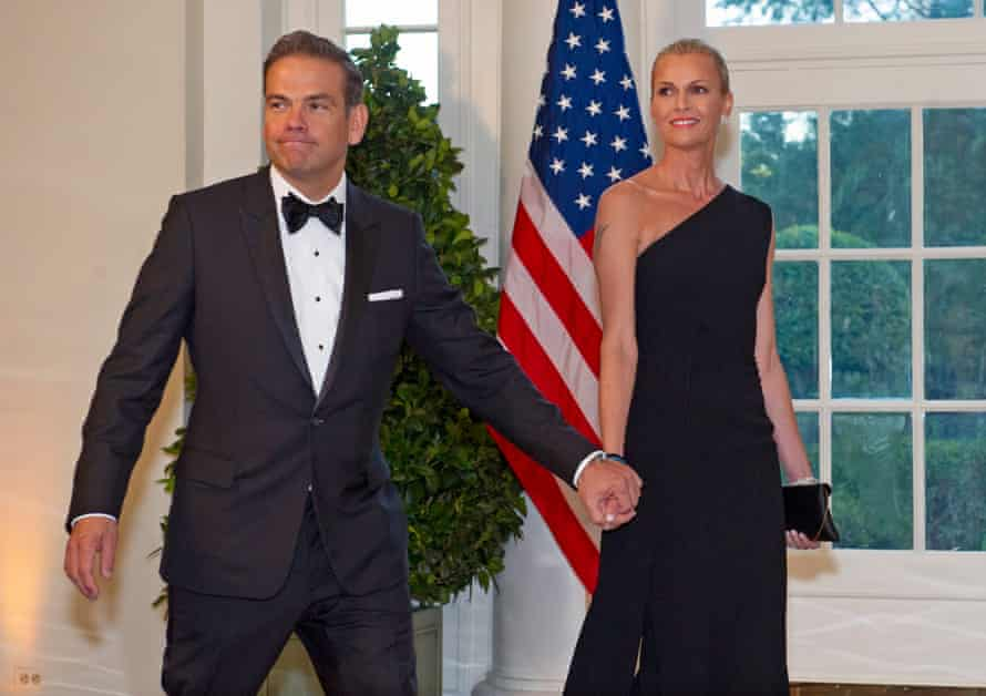Fox CEO and co-chairman of News Corp Lachlan Murdoch (L) and Sarah Murdoch arrive for the state dinner.